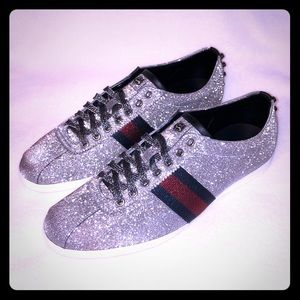 Gucci Bambi Gray Glitter Sparkle Sneakers US9.5/10
